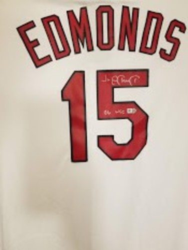 "Photo of Jim Edmonds ""06 WSC"" Autographed Cardinals Jersey"