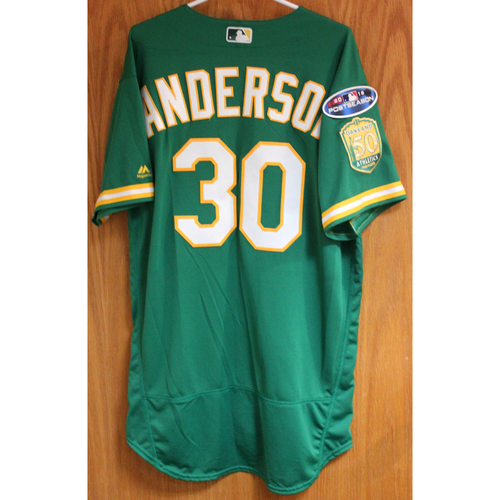 Photo of Team Issued Brett Anderson 2018 Jersey w/ Postseason Patch