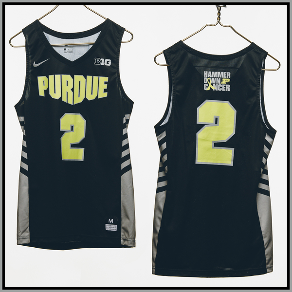 Photo of Purdue Basketball #2 Hammer Down Cancer Jersey, Worn By Eric Hunter Jr.
