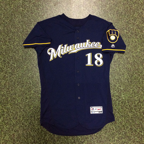 Photo of Eric Sogard 2018 Game-Used Navy Ball & Glove Jersey