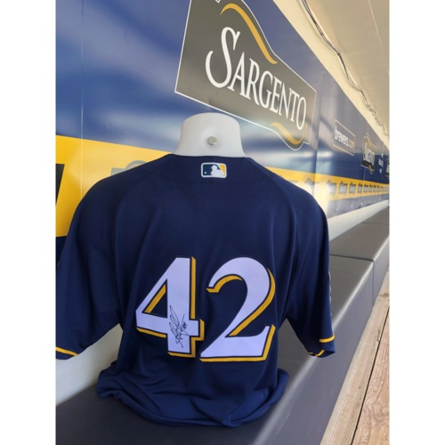 Photo of Jesus Aguilar Game-Used, Autographed Jackie Robinson Day Jersey