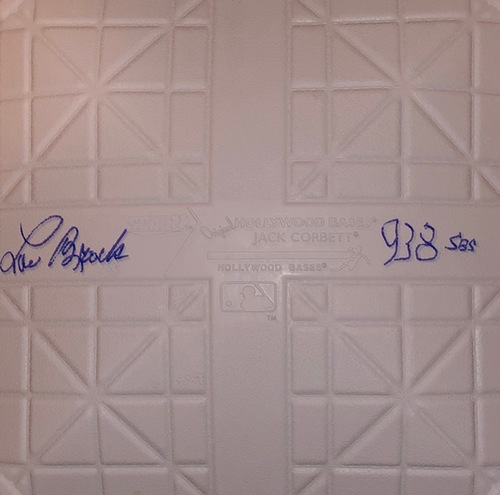"Photo of Lou Brock Autographed ""938 SB"" Base"