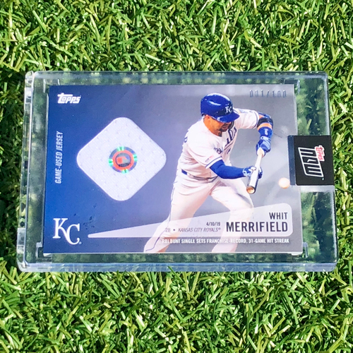 Topps Now Baseball Card: Number 001/100 - Whit Merrifield 31 Game Hit Streak (SEA @ KC - 4/10/19)