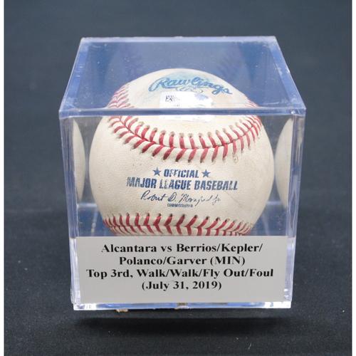 Photo of Game-Used Baseball: Sandy Alcantara vs Jose Berrios/Max Kepler/Jorge Polanco/Mitch Garver (MIN), Top 3rd, Walk/Walk/Fly Out/Foul - July 31, 2019