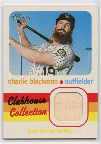 Photo of 2020 Topps Heritage Clubhouse Collection Relics #CCRCBL Charlie Blackmon