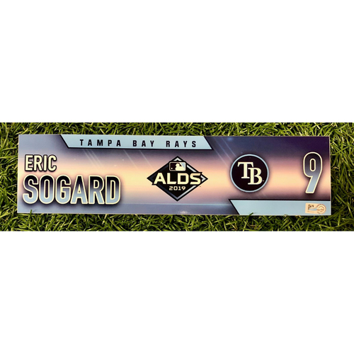 Photo of Rays Baseball Foundation: Game Used Locker Tag: Eric Sogard - ALDS - October 4, 5 and 10, 2019 at HOU