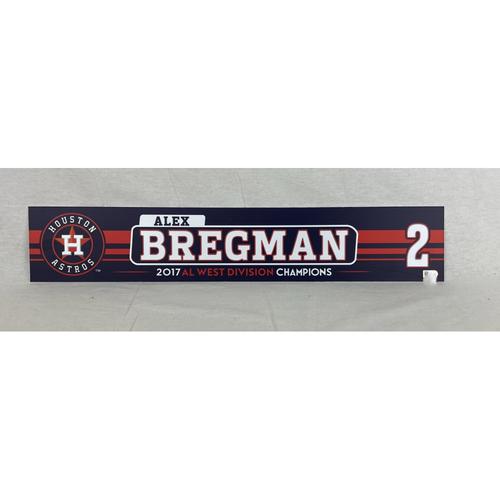 Photo of Alex Bregman Game-Used 2017 Postseason Locker Name Plate - 10/5 vs. BOS and 10/13 vs. NYY