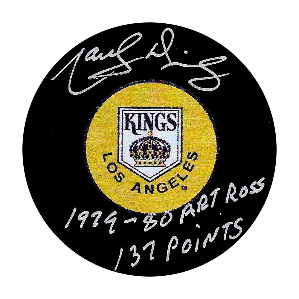 Marcel Dionne Autographed Los Angeles Kings Puck w/1979-80 ART ROSS 137 POINTS Inscription