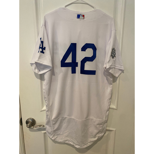 Photo of Dino Ebel Game-Used Jackie Robinson Day Jersey - Size 44T