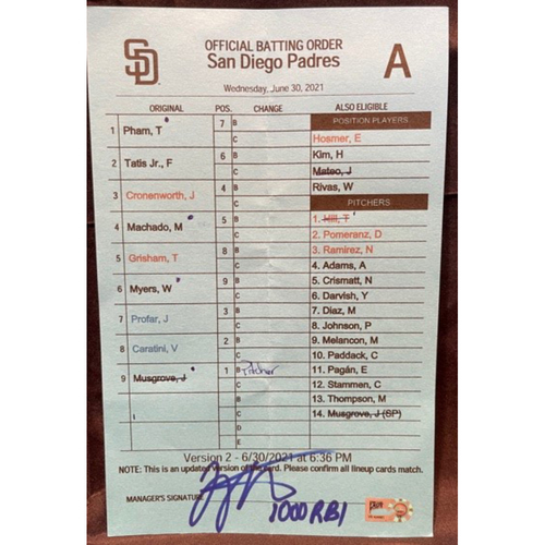 Photo of Joey Votto *Game-Used, Autographed & Inscribed* Visiting Team Batting Order Card -- Used By Reds Manager David Bell During Joey Votto's 1,000th Career RBI Game -- SD vs. CIN on 06/30/2021