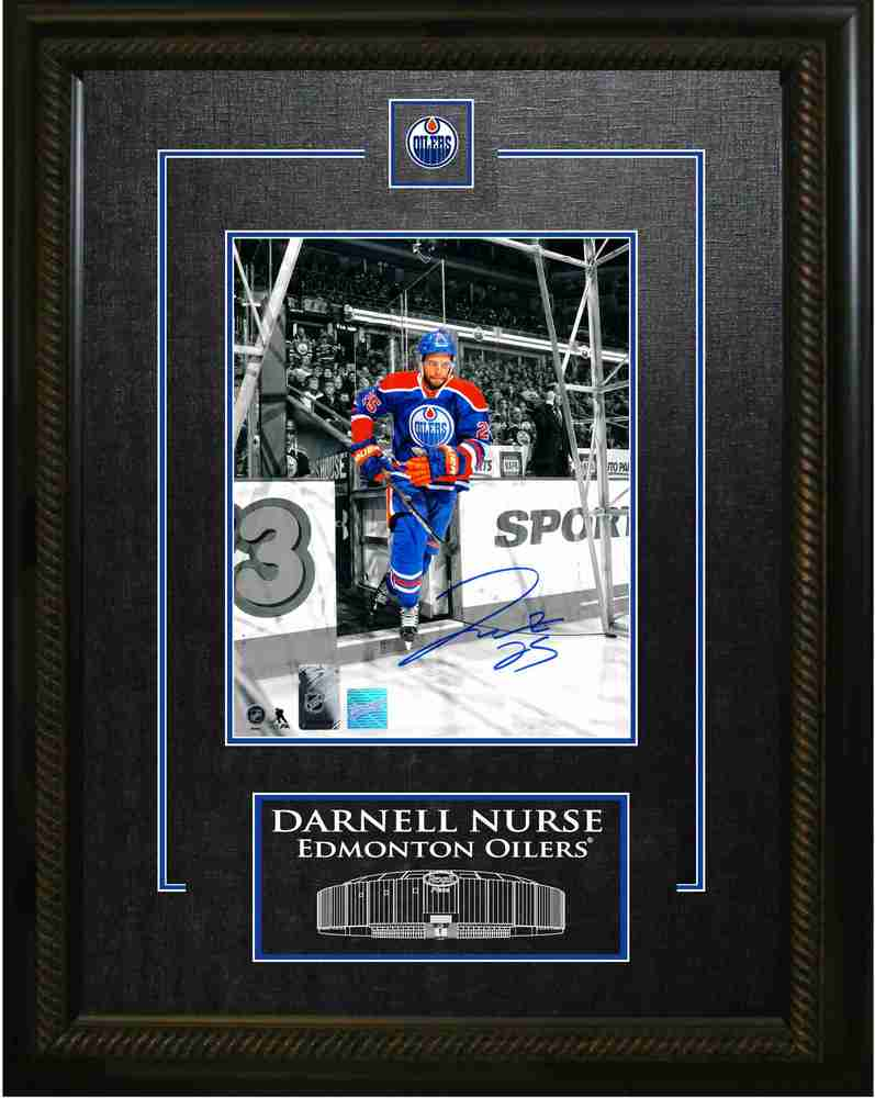 Darnell Nurse - Signed & Framed 8x10 Etched Mat Edmonton Oilers 'Skating Onto Ice' Photo