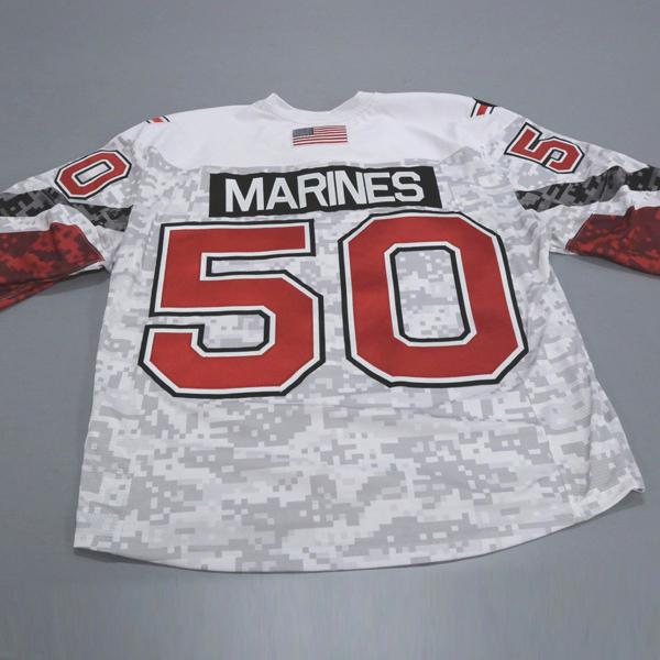 "Photo of Ohio State Ice Hockey Military Appreciation Jersey #50 ""MARINES"" / Size 56"