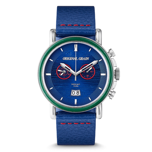 Photo of The Wrigley Field Chrono (Leather Band) - Limited Edition Swiss Quartz Crafted with Wrigley Field Stadium Seat by Original Grain