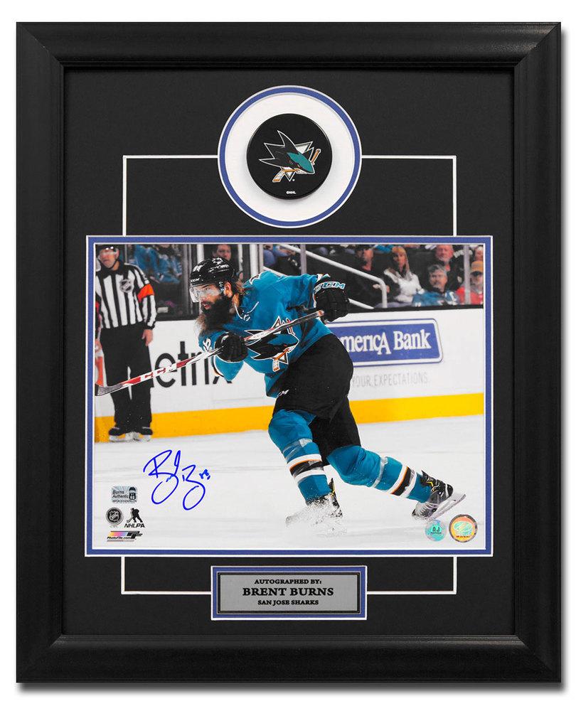 Brent Burns San Jose Sharks Autographed Slapshot 23x19 Puck Frame