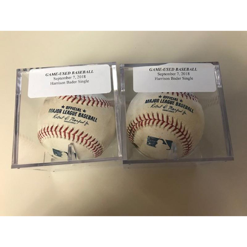 Photo of Game-Used Baseballs: Two Harrison Bader Singles