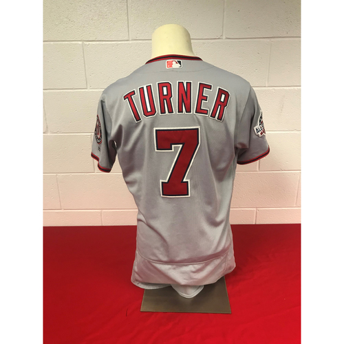 Photo of Trea Turner Game-Used 2018 Road Grey Jersey with All Star Game Patch