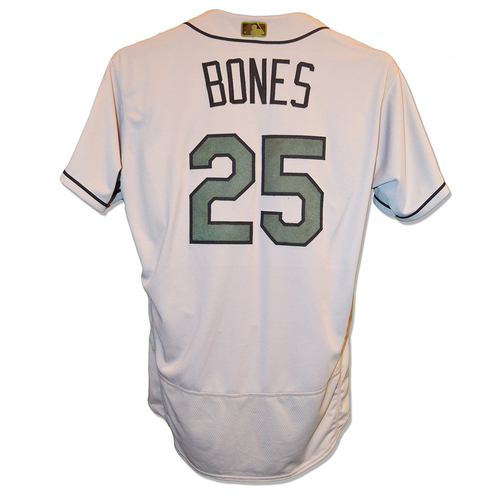 Photo of Ricky Bones #25 - Game Used Road Grey Jersey - Mets vs. Pirates - 5/28/17