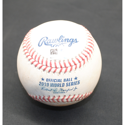 Photo of Game-Used Baseball: 2019 World Series - Game 6: Pitcher: Stephen Strasburg, Batter: Michael Brantley (Foul) - Bot 5