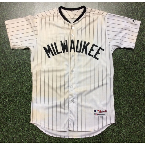 Photo of Corey Knebel 2017 Game-Used Milwaukee Bears Jersey - 2.0 IP, 0 R, 3 SO, Win