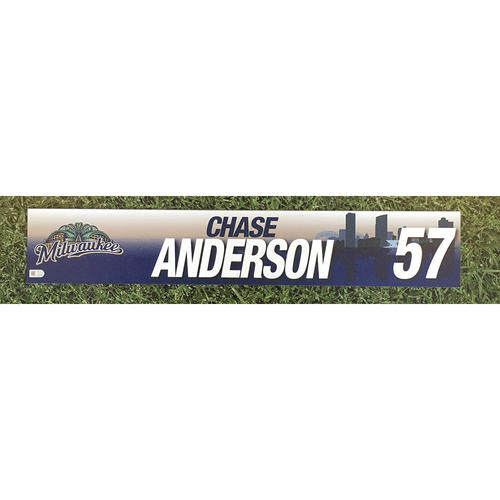 Photo of Chase Anderson 2017 Game-Used Locker Nameplate