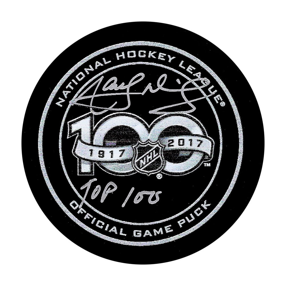 Marcel Dionne Autographed NHL 100 Official Game Puck w/TOP 100 Inscription