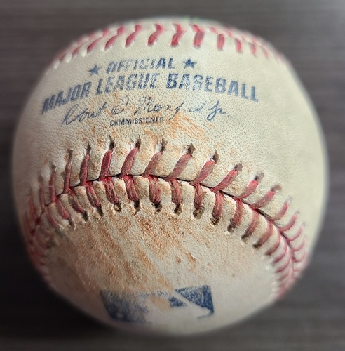 Photo of Authenticated Game Used Baseball: Single by Randal Grichuk against Nick Anderson (Sep 13, 2021 vs TBR). Bottom 7.