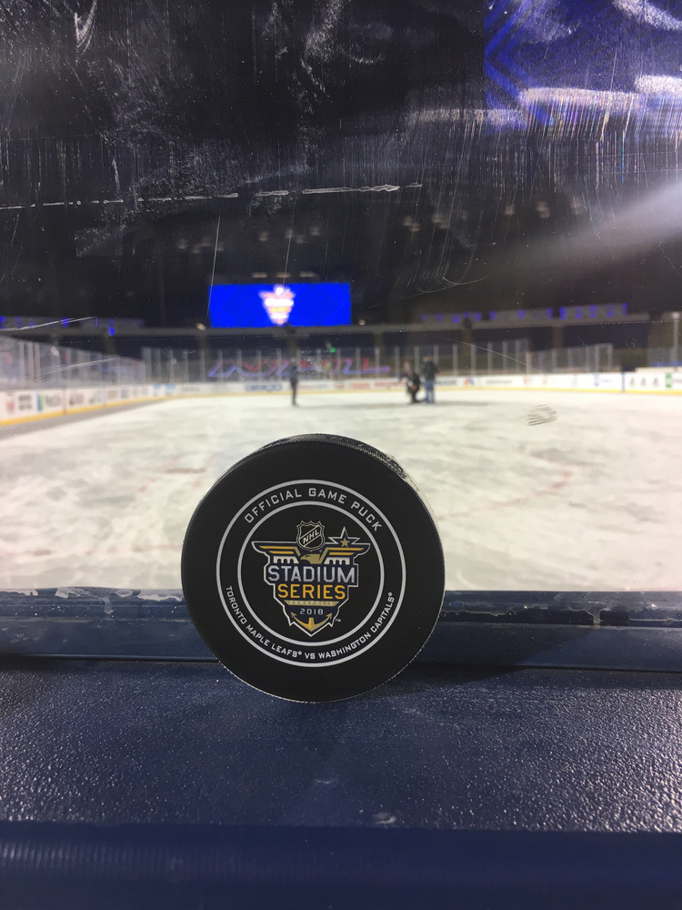 Washington Capitals vs. Toronto Maple Leafs 2018 NHL Stadium Series Game-Used Puck - Used During Third Period