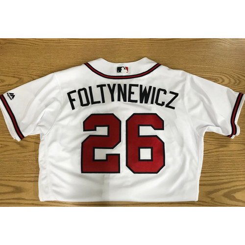 Photo of Mike Foltynewicz Game-Used 2018 Opening Day Jersey - Braves Walk-Off Win