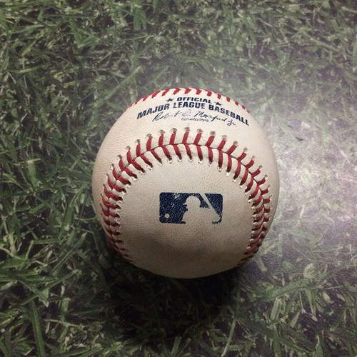 Photo of Game-Used Baseball COL@MIL  08/05/18 - Josh Hader - Tom Murphy: Foul (Hader's 100th Strikeout of Season At-Bat)
