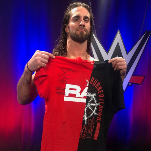 Photo of Seth Rollins WORN & SIGNED T-Shirt (Survivor Series - 11/18/18)