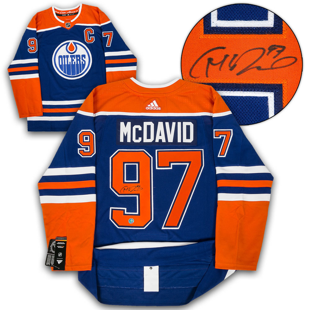 timeless design 73a52 874e2 Connor McDavid Edmonton Oilers Signed Blue Alt Adidas ...