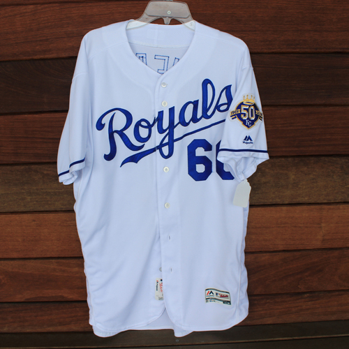 Photo of Game-Used Jersey: Ryan O'Hearn 39th Career Hit and 30th Career RBI (Size 48 - CLE @ KC - 9/29/18)