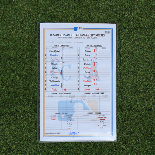 Photo of Game-Used Line-Up Card: Albert Pujols Passes Gehrig for 4th on All-Time RBI List (LAA @ KC - 4/26/19)