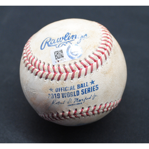 Photo of Game-Used Baseball - 2019 World Series - Washington Nationals vs. Houston Astros - Batter - Yan Gomes/Victor Robles/Trea Turner, Pitcher - Zack Greinke - Top 6 - Flyout to CF/Groundout to 1B/Foul - Game 7 - 10/30/2019
