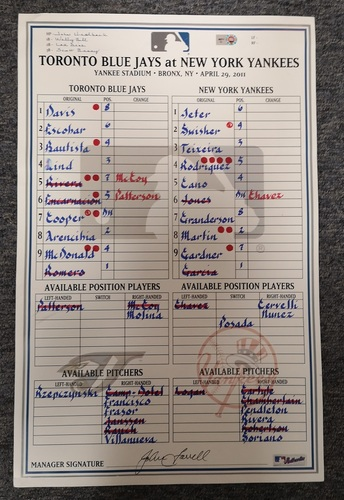 Photo of Authenticated Game Used Lineup Card - Apr 29, 11 vs NYY: Jeter was 1-for-5. Cano had 2 HRs and Bautista had 1 HR