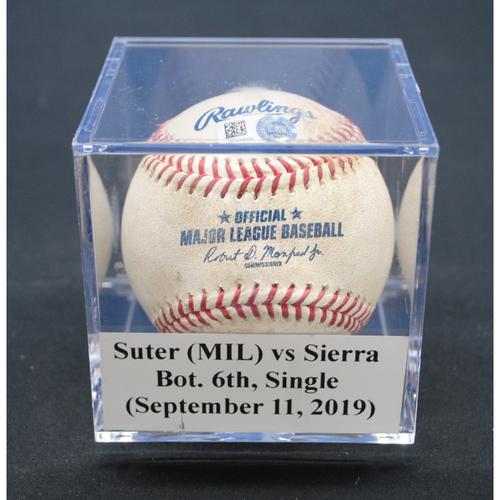 Photo of Game-Used Baseball: Brent Suter (MIL) vs Magneuris Sierra, Bot. 6th, Single - September 11, 2019
