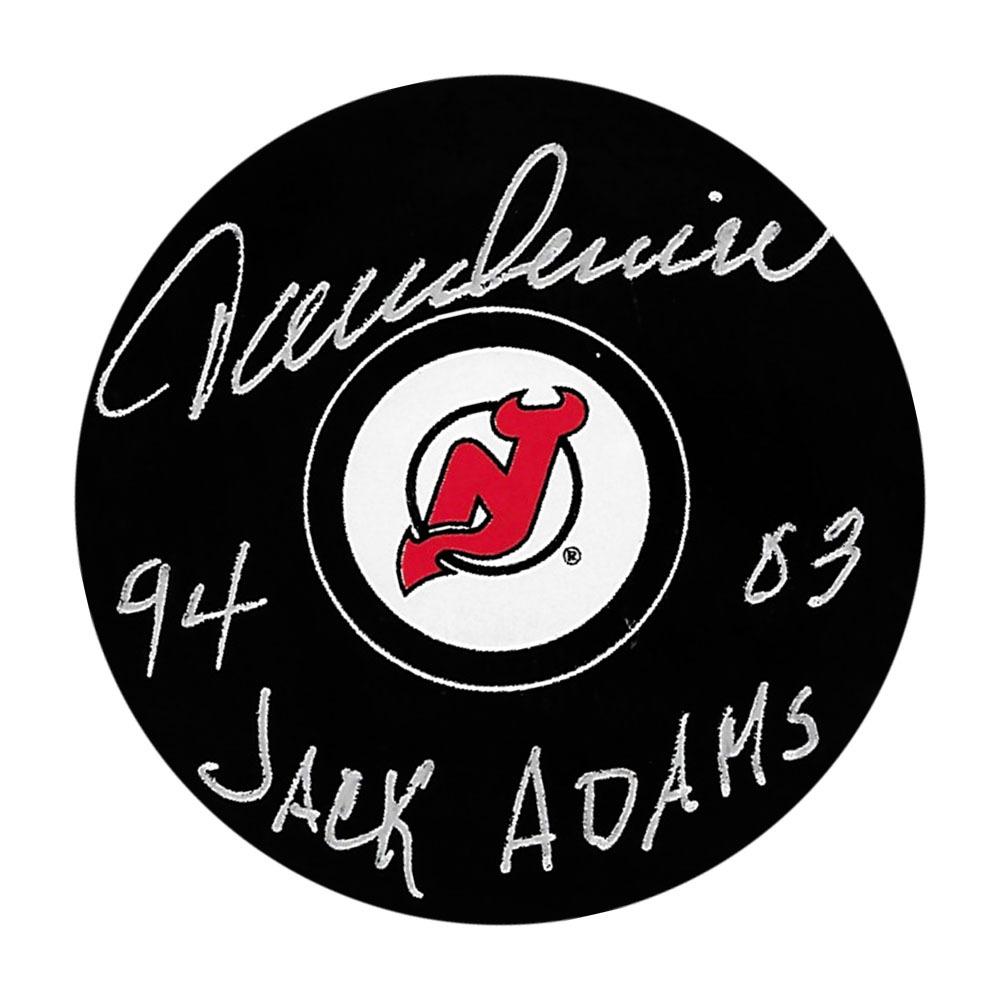 Jacques Lemaire Autographed New Jersey Devils Puck w/95 03 JACK ADAMS Inscription