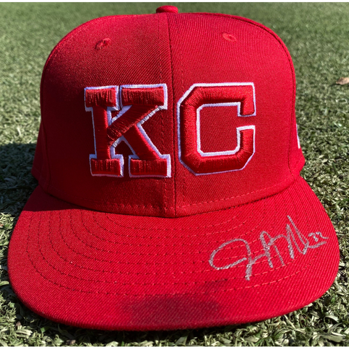 Photo of Autographed/Game-Used Monarchs Hat: Jesse Hahn #32 (STL @ KC 9/22/20) - Size 7 1/4