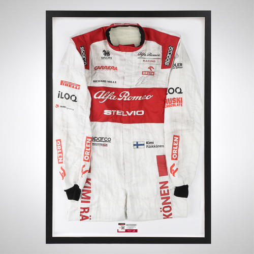 Photo of Kimi Raikkonen 2020 Framed Signed Race-worn Race Suit - Abu Dhabi GP