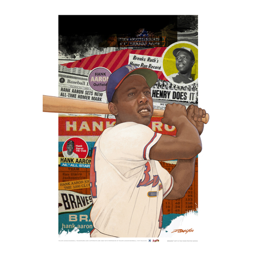 """Photo of Hank Aaron - Braves Art in the Park Poster by Dwayne """"Dubelyoo"""" Wright"""