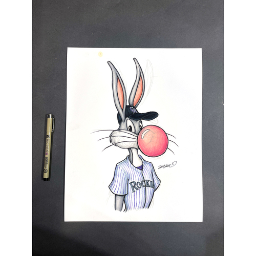 "Photo of Colorado Rockies Original Art - ""Bubblegum Bugs"" MLB x Looney Tunes by artist S. Preston"