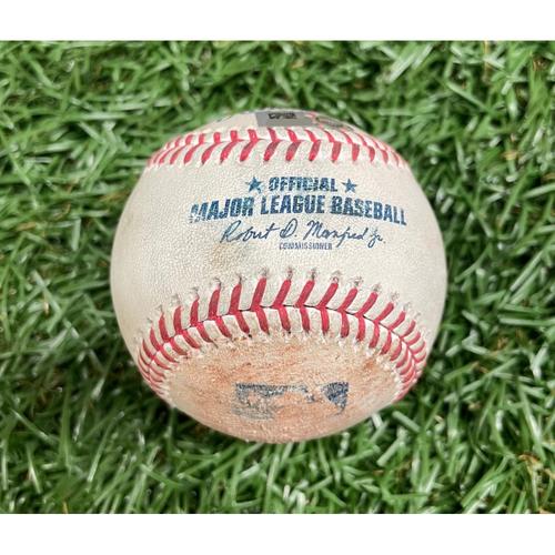 Photo of Game Used ALDS Baseball: Kike Hernandez flyout and Kyle Schwarber single off J.P. Feyereisen - Top 8 - October 7, 2021 v BOS