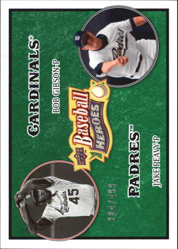 Photo of 2008 Upper Deck Heroes Emerald #184 Bob Gibson/Jake Peavy