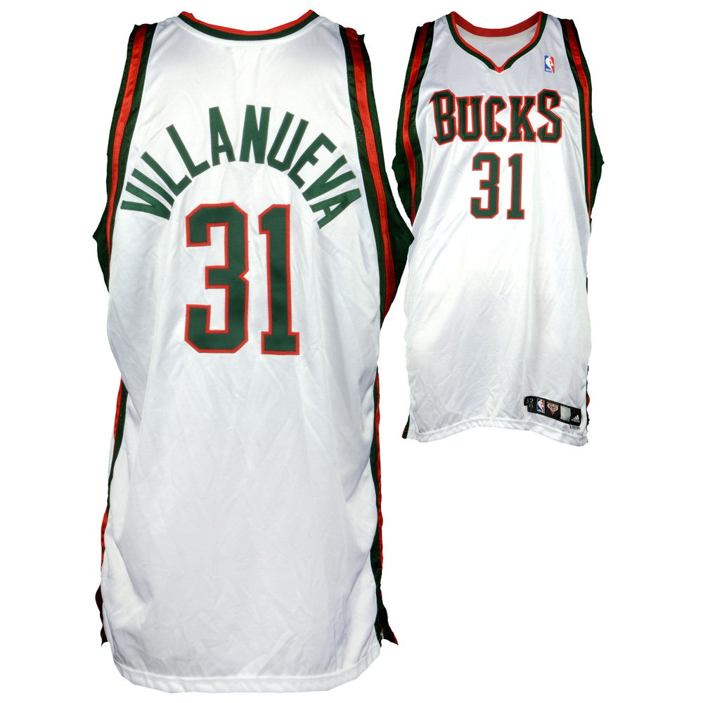 Charlie Villanueva Milwaukee Bucks Game-Used White #31 Jersey used during the 2008-2009 Season - Size 52