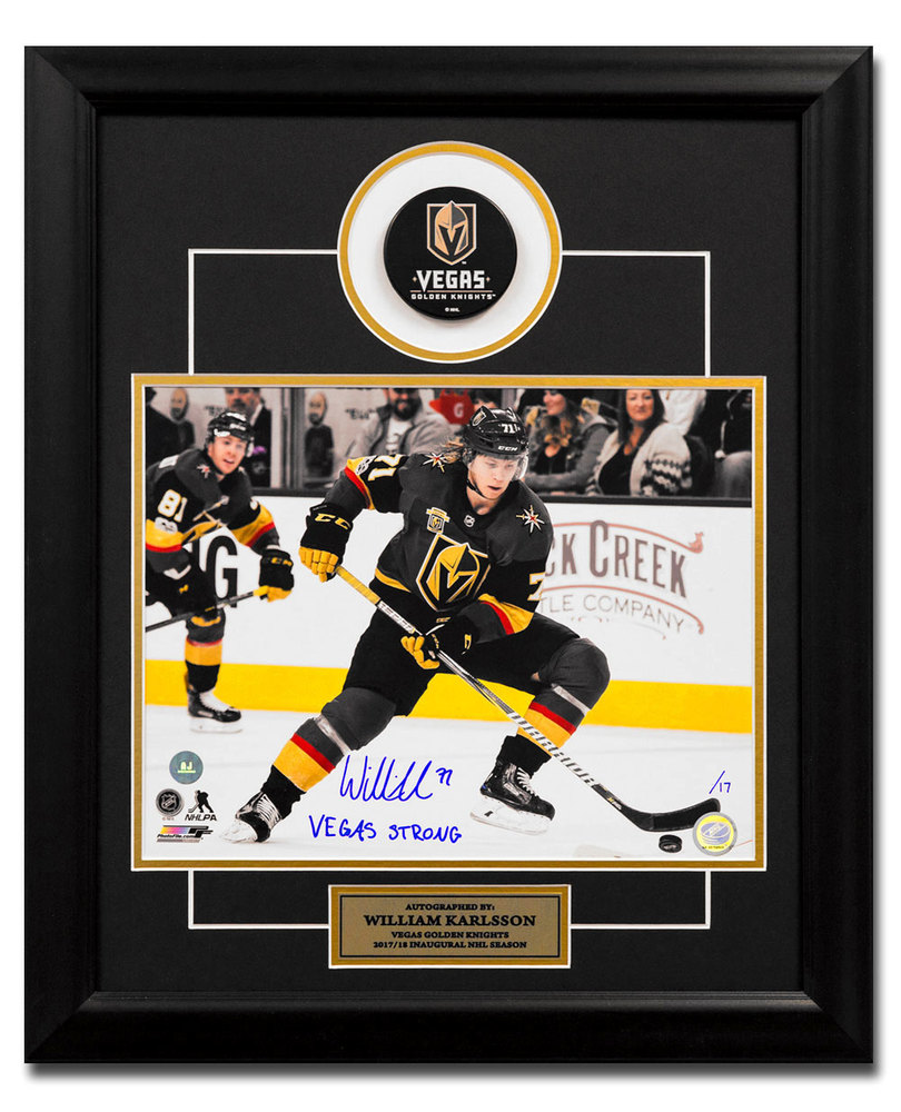 b2cf7a34365 William Karlsson Golden Knights Signed Vegas Strong 23x19 Puck Frame #/17