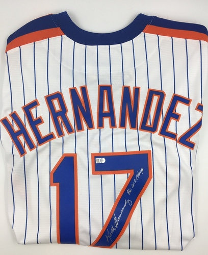 "Photo of Keith Hernandez ""86 WS Champs"" Autographed Mets Jersey"