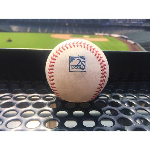 Photo of Colorado Rockies Game-Used Baseball - Brinson v. McGee - RBI Triple (4) to Blackmon. Rivera scores - June 24, 2018