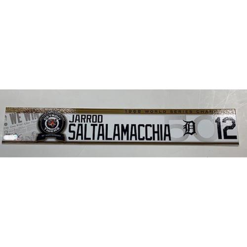 Photo of Team-Issued 1968 50th Anniversary Locker Name Plate: Jarrod Saltalamacchia