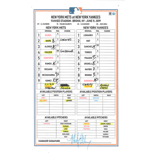 Photo of Game Used Lineup Card - Mets vs. Yankees - 6/11/19 - Alonso 1-3 HR (22), 3 RBI's, 2 BB's and 2 Runs Scored; Mets Win 10 - 4
