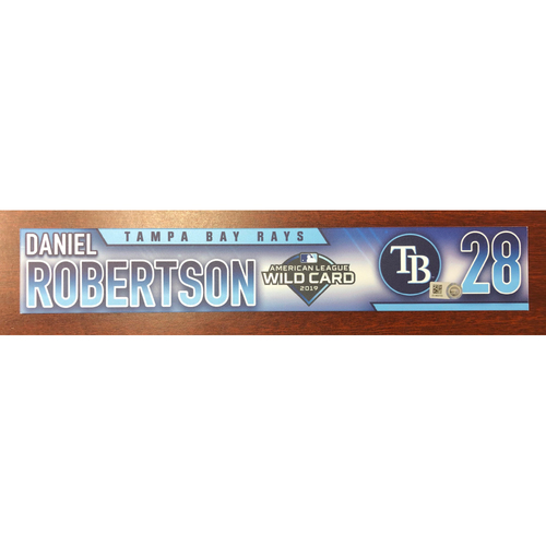 Photo of Game Used A.L. Wild Card Locker Tag: Daniel Robertson - First Career Post Season Game